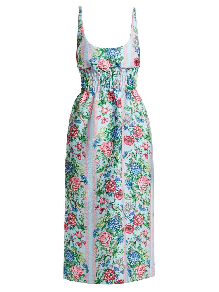 99a2d3a2bf7 EMILIA WICKSTEAD Giovanna floral print shirred cloqué dress in blue   multi