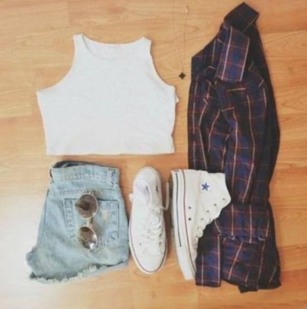 top crop tops flannel shoes shorts sunglasses blouse jacket