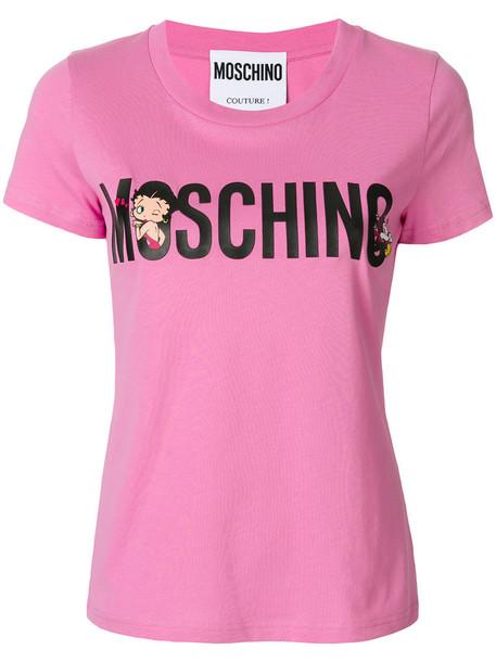 Moschino t-shirt shirt t-shirt short women cotton purple pink top