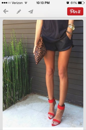 shorts shoes two strap heels pointed toe heels bag leopard print clutch leopard oversized clutch red high heels high heels summer outfits summer shoes redheels fashion evening outfits red open purse jewels black short shirt jumpsuit red shoes straps strap heels ankle strap heels red high heel sandals heels red heels dress