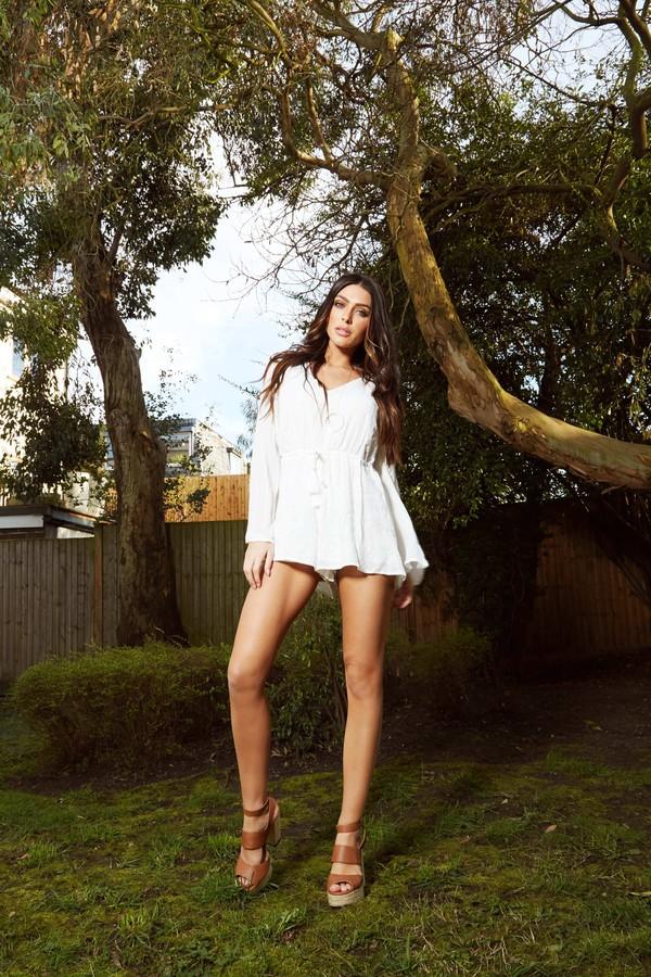 romper blue vanilla white romper sexy white playsuit v neck bell sleeves flowy summer romper summer outfits boho