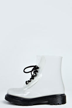Ronya  Lace Up Chunky Ankle Wellington at boohoo.com
