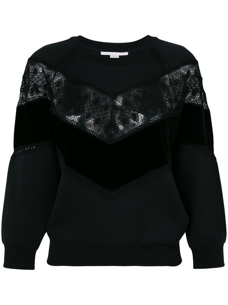 sweatshirt women lace cotton black sweater