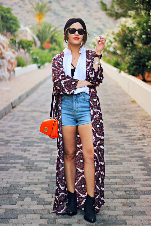 Shirt the little magpie blogger kimono folk hippie festival denim shorts high waisted ...