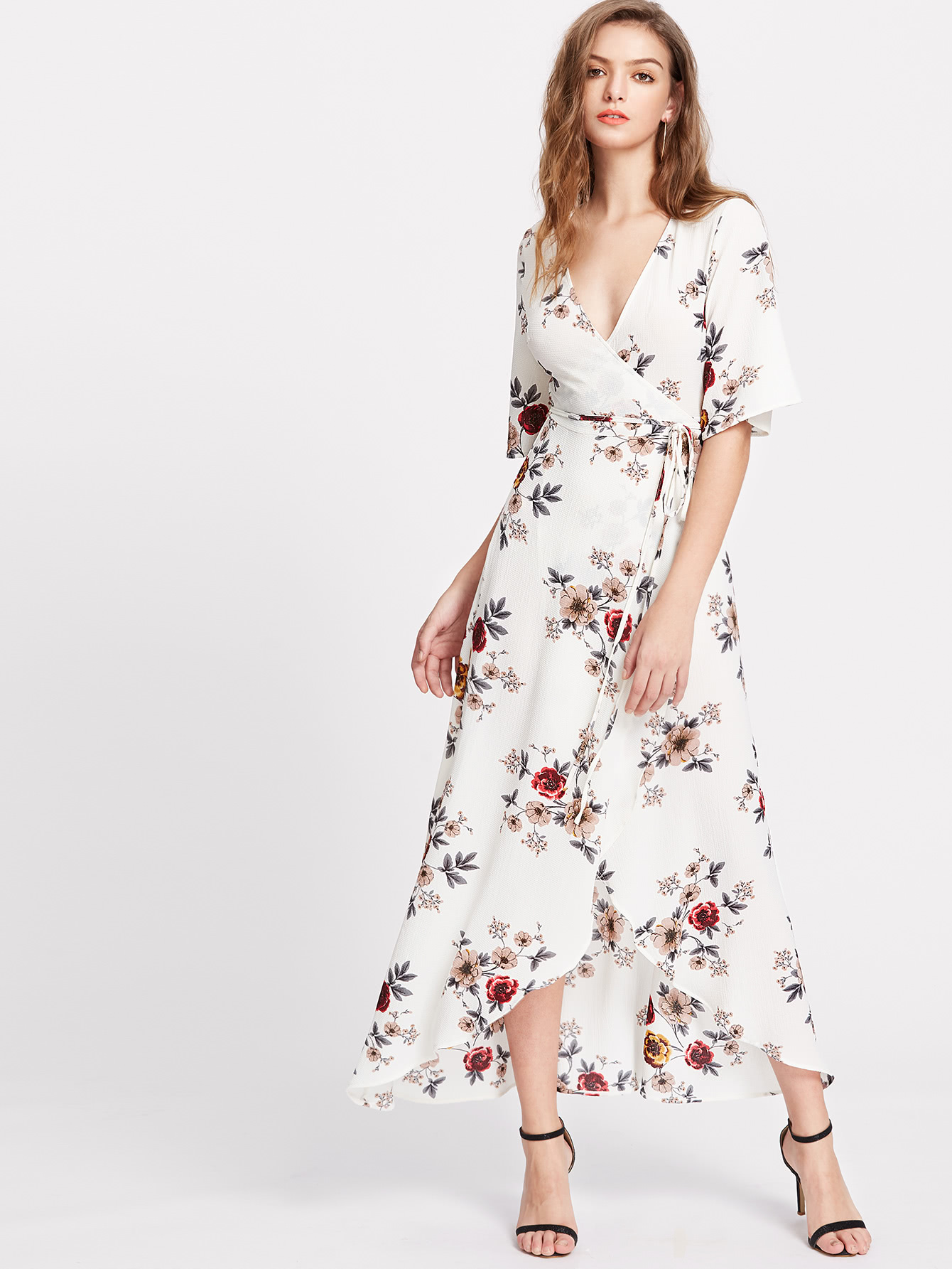 735f9664ce Floral Print Flutter Sleeve High Low Surplice Wrap Dress -SheIn(Sheinside)