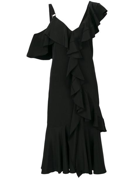 Proenza Schouler dress midi dress ruffle women midi black silk