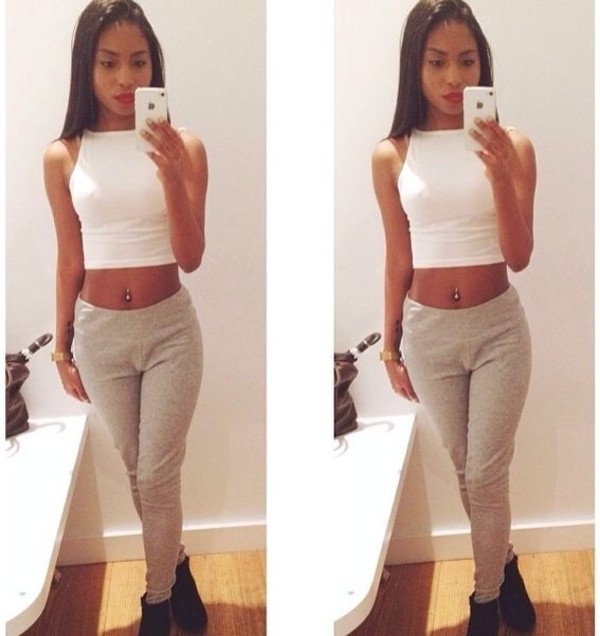pants sweatpants grey urgent high waisted female cute comfy skinny swag tank top bag