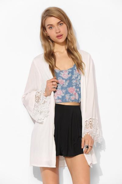 Reverse Hippie Bell Sleeve Kimono Jacket in White | Lyst