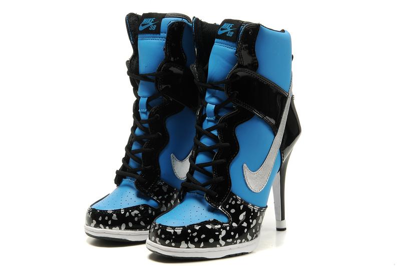 Nike High Heels Black Blue Silver Sale For Women Nike High