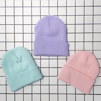 hat paste purple grunge pink pastel blue beanie pastel goth 90s style hair accessory pink pastel dresses knitted beanie pastel