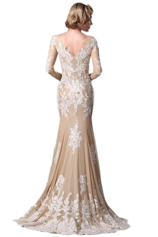 KissBridalR Womens Long Sleeve Champagne Mermaid Wedding Dresses At Amazon Womens Clothing Store