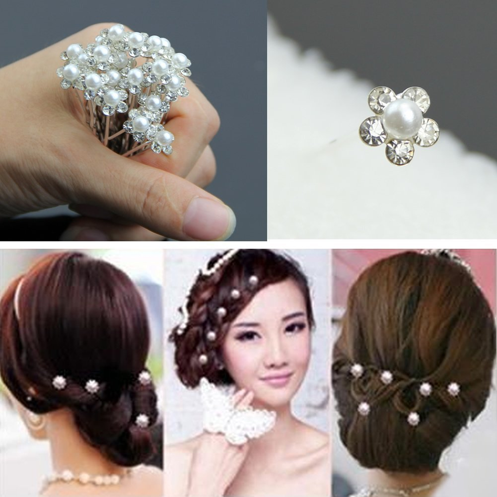 Amazon.com : Estone 20Pcs Wedding Bridal Pearl Flower Crystal Hair Pins Clips Bridesmaid HOT : Beauty