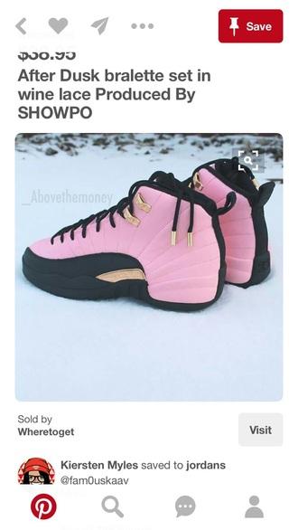 shoes jordans pink black