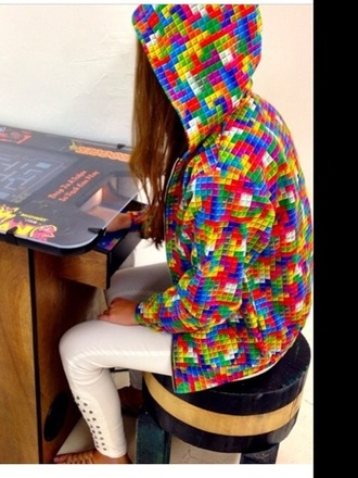 jacket tetris hoodie jumper multicoloured