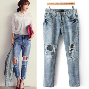 grunge baggy boyfriend jeans pants ladies ripped demin distressed ...