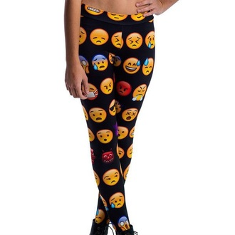 leggings black leggings emoji print emoji leggings emoji pants