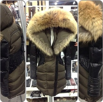 coat down jacket leather fur collar faux fur coat jacket fur outerwear hood winter coat winter jacket winter outfits fur coat furr long olive green