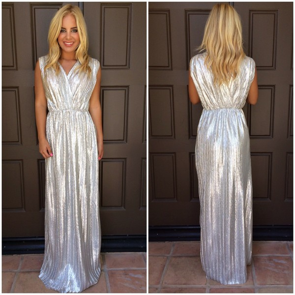 Metallic silver v neck maxi dress