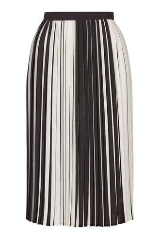 skirt topshop clothes pleated skirt black and white