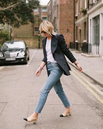 jacket blazer black blazer striped blazer top white top blue jeans jeans spring outfits