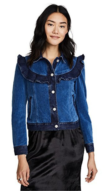 La Vie Rebecca Taylor jacket denim jacket denim velvet dark