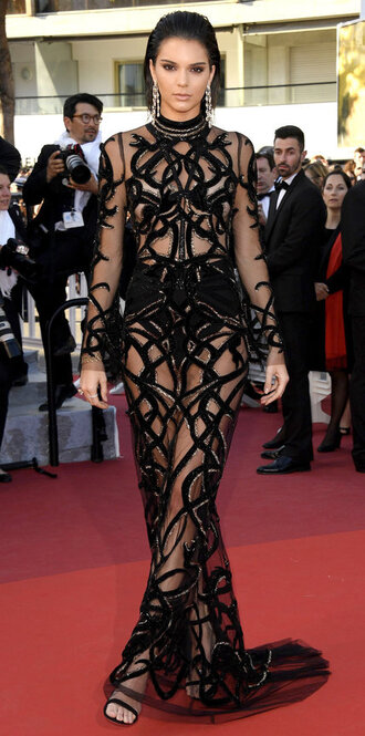 dress see through see through dress gown prom dress kendall jenner red carpet dress kardashians cannes long long prom dress black dress evening dress long evening dress girly girly dress cute dress classy dress elegant dress prom sexy dress sexy celebrity celebrity style celebstyle for less mesh dress