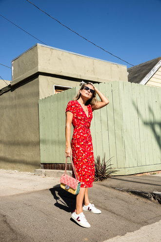dress midi dress sunglasses tumblr red dress wrap dress realisation par dress sneakers white sneakers bag shoes