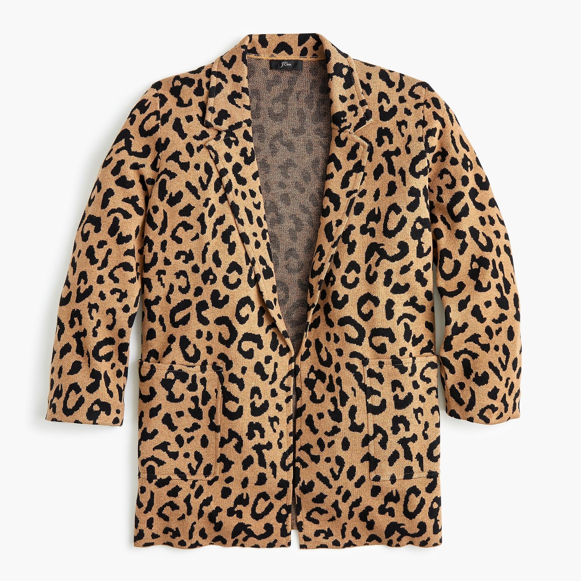 Sophie open-front sweater-blazer in leopard