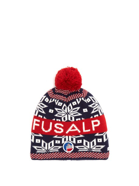 FUSALP Snowflake and logo-intarsia wool-blend beanie hat in red / multi