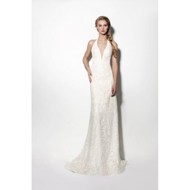 Dress: halter top, vestidos de novia, sem mangas - Wheretoget