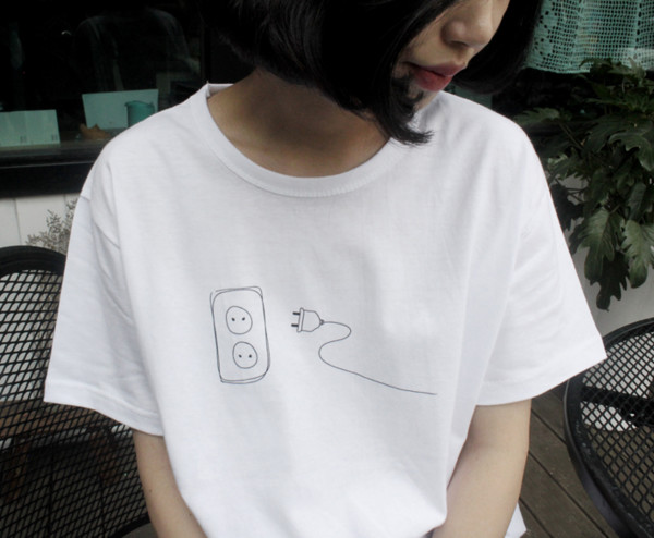 t-shirt socket tumblr top t-shirt plug white top t shirt. white t-shirt hipstet white shirt shirt food minimalist white t-shirt t-shirt outlet white dress hippie black bikini top tank top crptop electricity cute grunge pale soft grunge grunge t-shirt tumblr indie drawing tee aesthetic asian