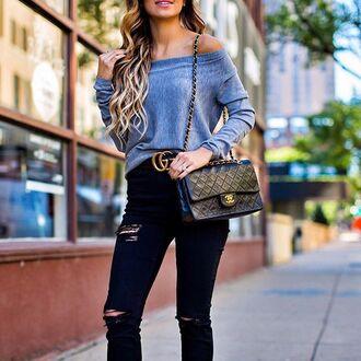 top tumblr off the shoulder off the shoulder top long sleeves bag black bag chanel gucci jeans black jeans ripped jeans black ripped jeans