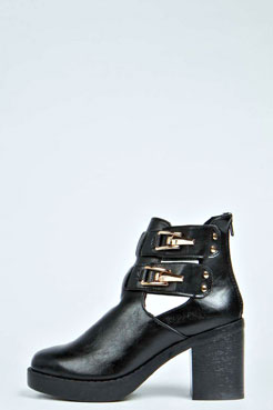 Jenny Clip Buckle Block Heel Ankle Boot at boohoo.com