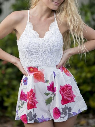 dress gamiss lace crochet floral trendy fashion style chic pants white summer spring flowers roses