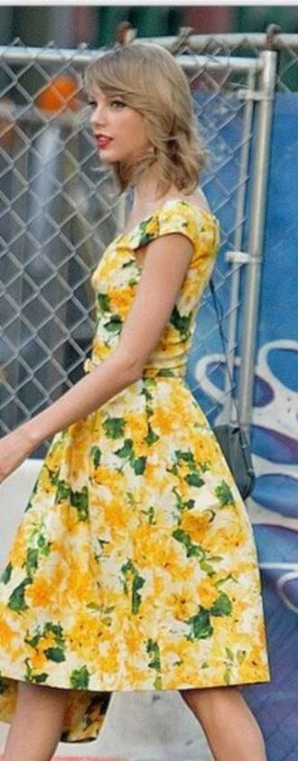 dress taylor swift summer dress yellow yellow dress