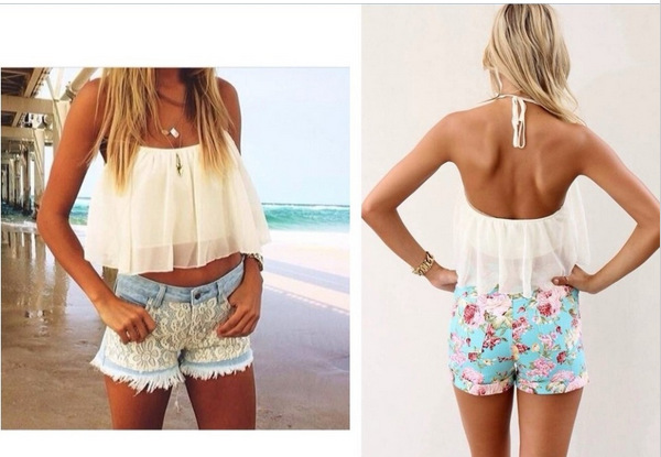 Spring  Summer Outfit   White Flowy Crop Top   Lace Shorts CHIFFON Hollow Yarn Shirt Crop TOP CS4203-in Blouses & Shirts from Apparel & Accessories on Aliexpress.com