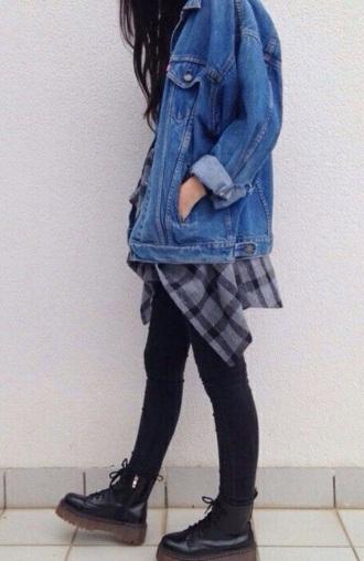 coat grunge top grunge t-shirt grunge jean jacket flannel shirt pants shoes