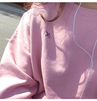 sweater pink jumper cool cute tumblr pink jumper adidas new nice love pink sweater quote on it oversized sweater pastel pink sweatshirt ok girl aesthetic light pink basic shirt pink oversized shirt