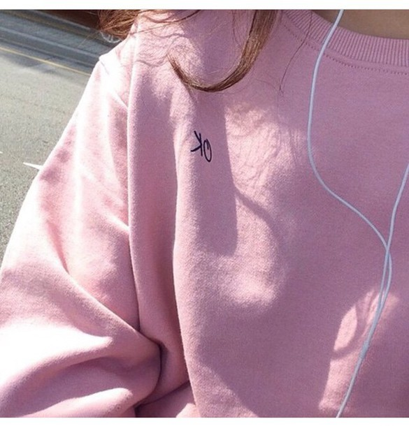 sweater pink jumper cool cute tumblr pink jumper adidas new nice love pink sweater quote on it