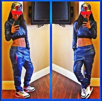 shirt teyana taylor leather crop top leather sweatpants snapback hat pants hat shoes