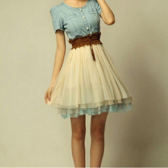 skirt dress waist belt light blue