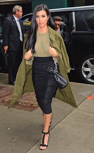 coat green coat kourtney kardashian