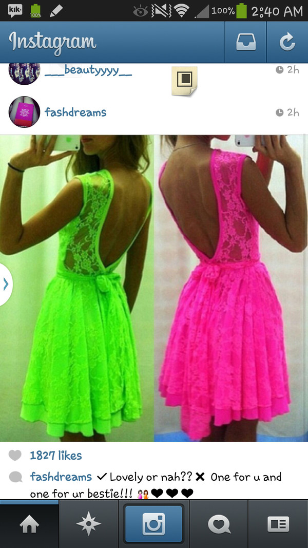 dress neon pink green lace
