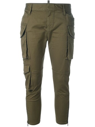 pants cargo pants cropped green