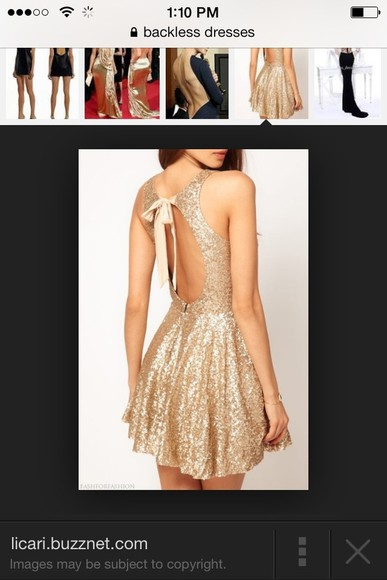 dress backless gold glitter fit and flare bow
