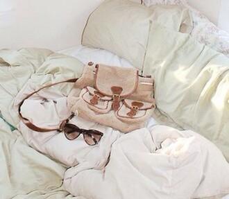 bag tan brown cream backpack