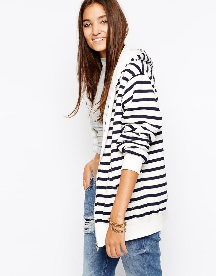 Daisy street stripe longline hoody at asos.com