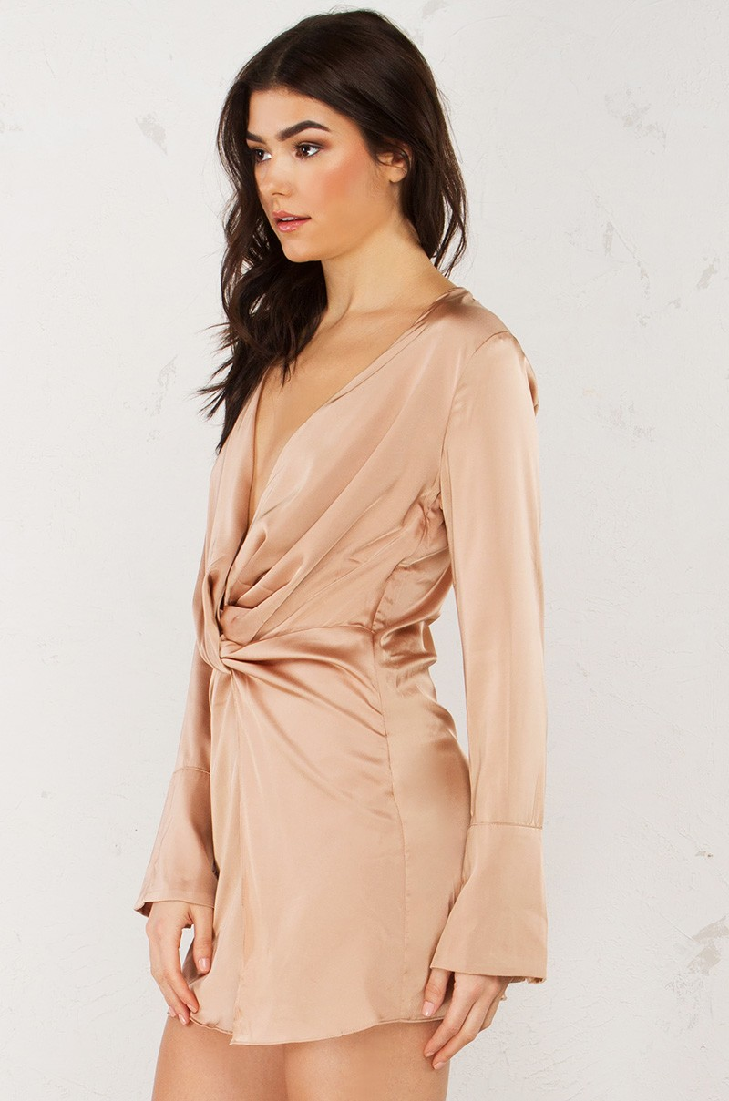 395207064dd8 Deep V Satin Dress in Almond and Black