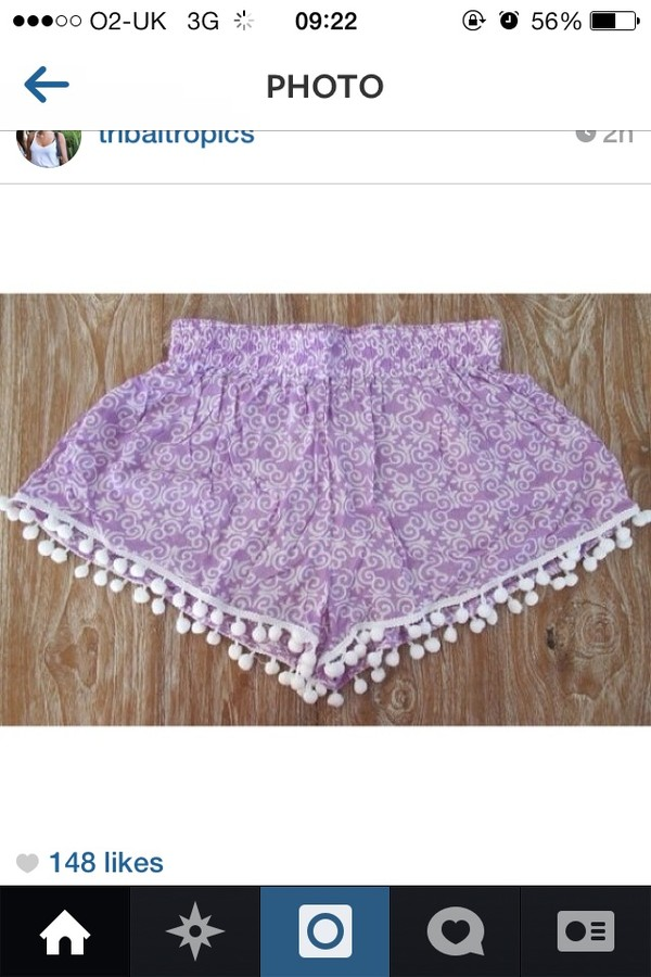 shorts tropical cute tumblr bobbles white cream purple beautiful girl tumblr girl show note me