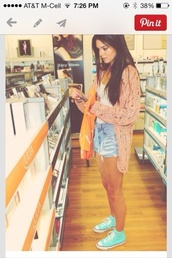 sweater,kendall jenner,cardigan,shoes,shirt,shorts,peachy pink,lace,pink,kendall jenner unique style cute orange sweater pinterest